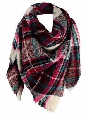 Warm Plaid Woven Oversized Fringe Scarf Blanket Shawl Wrap Poncho (Fuchsia Green)