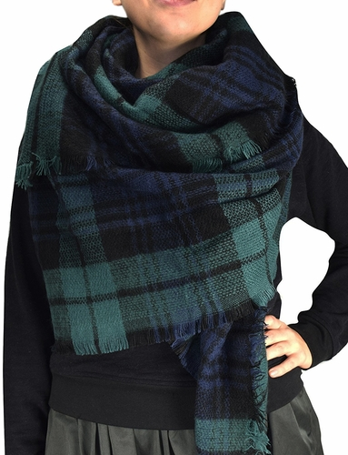 Warm Plaid Woven Oversized Fringe Scarf Blanket Shawl Wrap Poncho (Green Black)