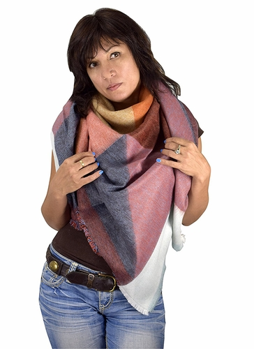 Warm Plaid Woven Oversized Fringe Scarf Blanket Shawl Wrap Poncho (Light Blue Orange)