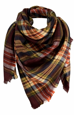 Warm Plaid Woven Oversized Fringe Scarf Blanket Shawl Wrap Poncho (Maroon Orange)