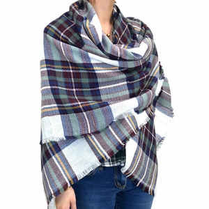 Warm Plaid Woven Oversized Fringe Scarf Blanket Shawl Wrap Poncho (Navy/Brown)