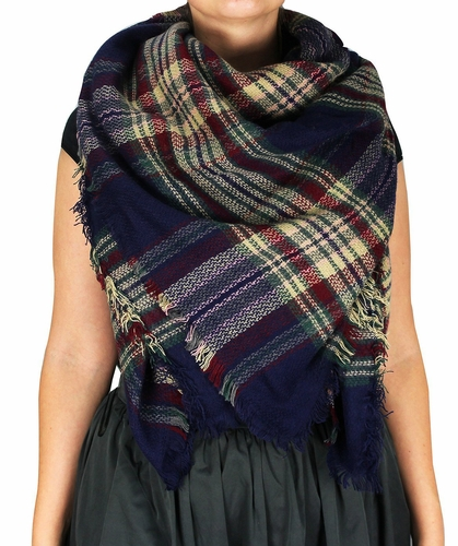 Warm Plaid Woven Oversized Fringe Scarf Blanket Shawl Wrap Poncho (Navy/Wine)