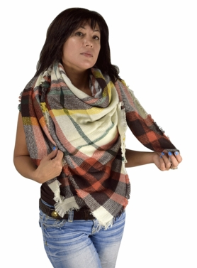 Warm Plaid Woven Oversized Fringe Scarf Blanket Shawl Wrap Poncho (Orange Yellow)