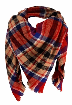 Warm Plaid Woven Oversized Fringe Scarf Blanket Shawl Wrap Poncho (Red Black)