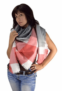 Warm Plaid Woven Oversized Fringe Scarf Blanket Shawl Wrap Poncho (Red Gray)