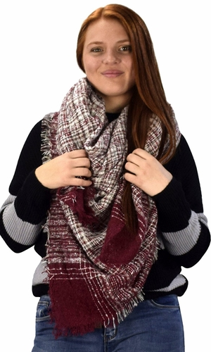 Multicolor Tartan Plaid Oversized Blanket Scarf Shawl Wrap Poncho (Burgundy)