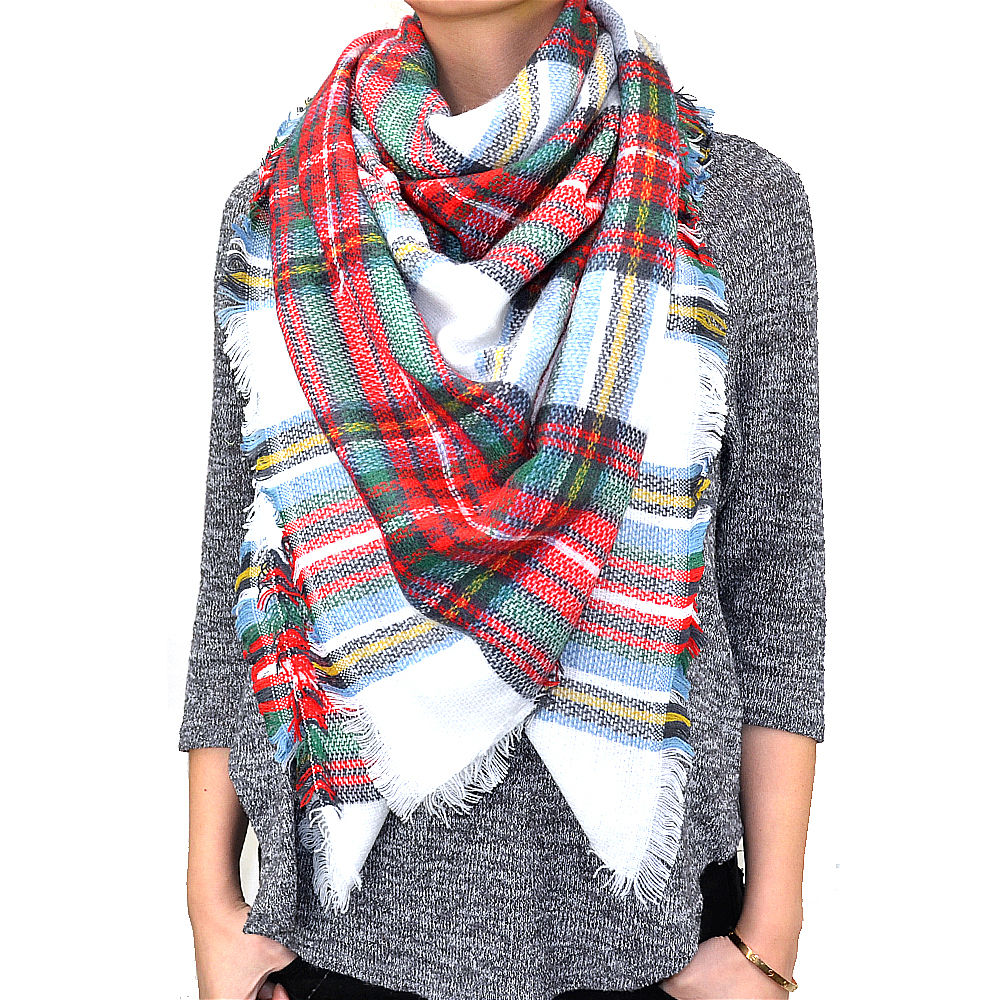 warm plaid woven oversized fringe scarf blanket shawl wrap