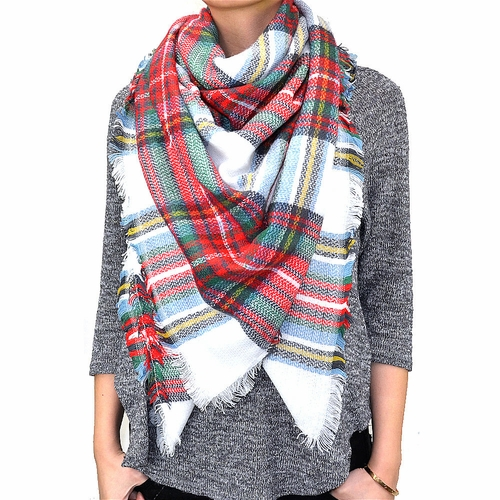 Warm Plaid Woven Oversized Fringe Scarf Blanket Shawl Wrap Poncho (White/ Red/ Green)
