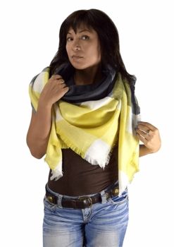 Warm Plaid Woven Oversized Fringe Scarf Blanket Shawl Wrap Poncho (Yellow Gray)