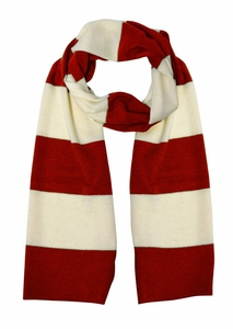 Cozy 100% Cashmere Soft and Warm Rugby Striped Scarf  (Red/White )