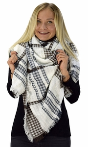 Warm Tartan Plaid Woven Oversized Fringe Scarf Blanket Shawl Wrap Brown/White