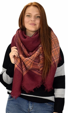 Warm Tartan Plaid Woven Oversized Fringe Scarf Blanket Shawl Wrap Maroon