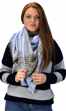 Warm Tartan Plaid Woven Oversized Fringe Scarf Blanket Shawl Wrap Periwinkle