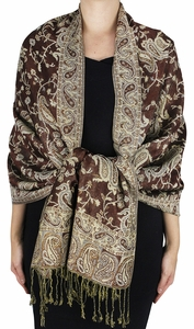 Sophisticated Reversible Paisley Floral Shawl (Brown)