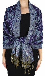 Sophisticated Reversible Paisley Floral Shawl (Eggplant)