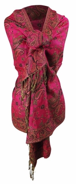Sophisticated Reversible Paisley Floral Shawl (Fuchsia)