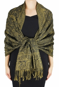 Sophisticated Reversible Paisley Floral Shawl (Hunter Green)