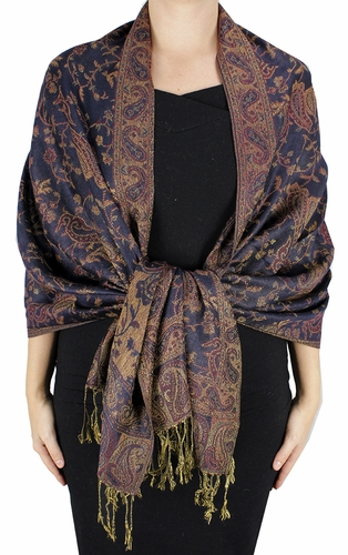 Sophisticated Reversible Paisley Floral Shawl (Navy)