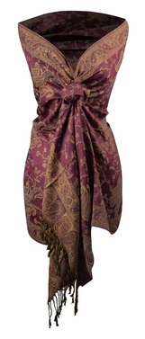 Sophisticated Reversible Paisley Floral Shawl (Pink)
