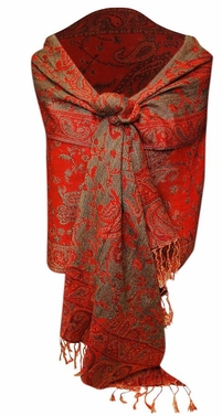 Sophisticated Reversible Paisley Floral Shawl (Red)