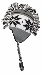 Winter Knit Snowflake Unisex Trooper Trapper Mohawk Fringe Ski Hat (Charcoal Grey)
