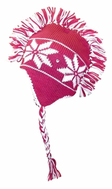 Winter Knit Snowflake Unisex Trooper Trapper Mohawk Fringe Ski Hat (Pink)