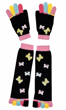 Winter Warm Colorful Toe Socks and Gloves Pack Butterfly Black
