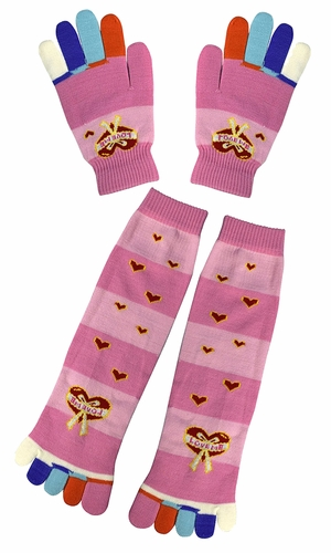 Winter Warm Colorful Toe Socks and Gloves Pack Hearts Pink