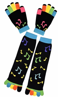 Winter Warm Colorful Toe Socks and Gloves Pack Music Notes Black