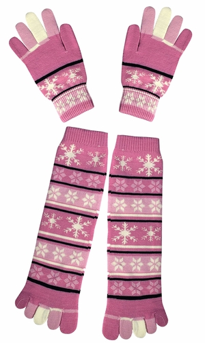 Winter Warm Colorful Toe Socks and Gloves Pack Snowflake Pink