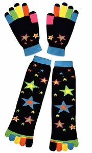 Winter Warm Colorful Toe Socks and Gloves Pack Stars Black