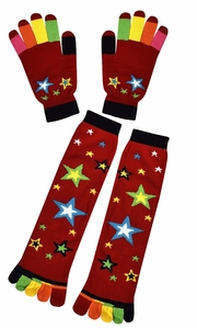 Winter Warm Colorful Toe Socks and Gloves Pack Stars Red