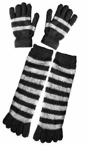 Winter Warm Striped Fuzzy Toe Socks and Gloves Pack (Black)