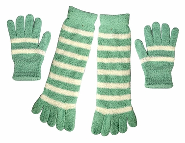Winter Warm Striped Fuzzy Toe Socks and Gloves Pack (Mint)