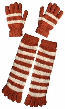 Winter Warm Striped Fuzzy Toe Socks and Gloves Pack (Orange)