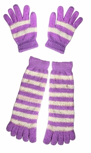 Winter Warm Striped Fuzzy Toe Socks and Gloves Pack (Purple)