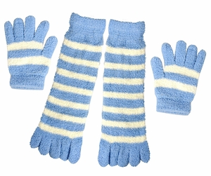 Winter Warm Striped Fuzzy Toe Socks and Gloves Pack (Sky Blue)