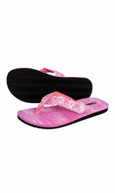 Women�s Casual Strappy Summer Slipper Shower Sandal Beach Flip Flops Pink and White
