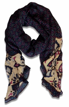Charming Aztec Floral Print Lightweight Classic Scarf (Navy)
