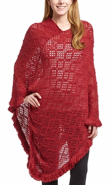 Women�s Crochet Light Knit Fall Fringe Tassel Shawl Wrap Poncho (Wine)