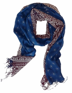Women's Incredible Soft and Lightweight Navy Brown Scarf