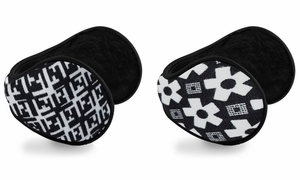 Women's Printed Earmuffs with Plush Lining 2-Pack Set (White/White)