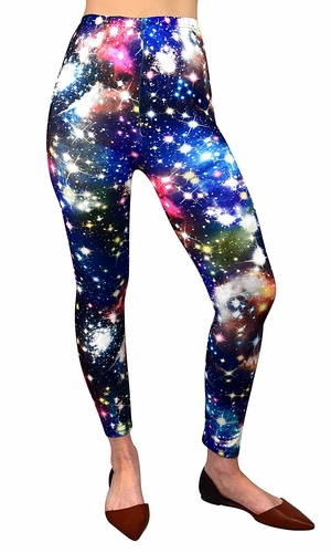 Women Stretch Luxury Galaxy Print Leggings Space Tight Pants (Blue)