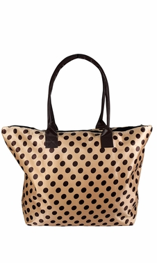 Womens Beach Fashion Large Travel Tote Handbag Shoulder Bag Purse Polka Dot Beige Brown