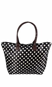 Womens Beach Fashion Large Travel Tote Handbag Shoulder Bag Purse Polka Dot Black White