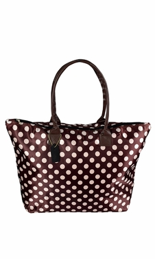 Womens Beach Fashion Large Travel Tote Handbag Shoulder Bag Purse Polka Dot Coffee White