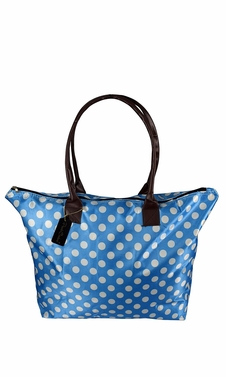 Womens Beach Fashion Large Travel Tote Handbag Shoulder Bag Purse Polka Dot Light Blue White