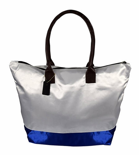 Womens Beach Fashion Large Travel Tote Handbag Shoulder Bag Purse White Royal Blue