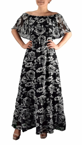 1970 Style Gypsy Womens Bohemian Vintage Floral On or Off the Shoulder Maxi Dress (Black and White)