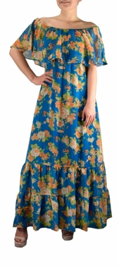 1970 Style Gypsy Womens Bohemian Vintage Floral On or Off the Shoulder Maxi Dress (Teal)